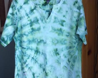 Ladies Tie Dye XL - Earth Tones - Women's Ice Dye Shirt - Green Blue Hand Dyed
