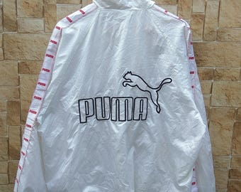 Rare Vintage PUMA BIG LOGO Windbreaker Sweater White Stripe Long Sleeve Large Size