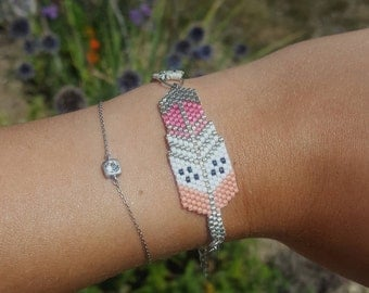 Bracelet beads Miyuki - salmon and pink colored feather with Ribbon