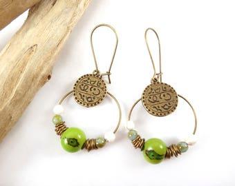 """India"" earrings green & Bronze"