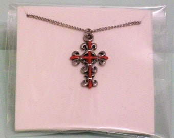 red cross silver necklace double sided pendant