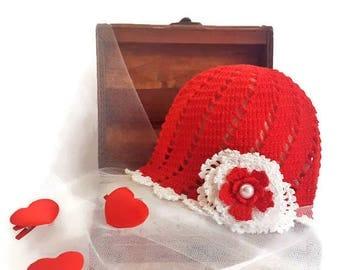 "GIRLS HAT ,,MEADOW""/ Hat whit flower/ Summer Girl Hat/ Sun hat/ Red white hat/ Handmade baby hat/  Girls crochet hat/ Cotton girl hat"