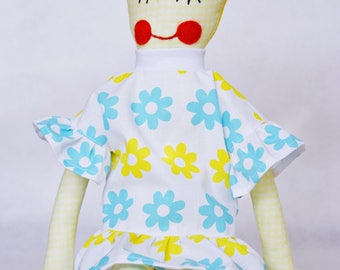Handmade doll Soft doll Fabric doll yellow and blue for girl child baby