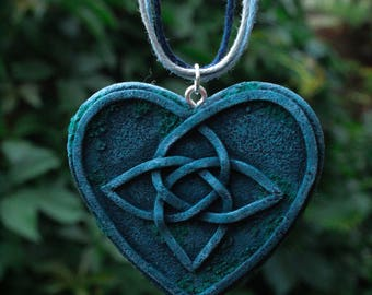 blue celtic heart pendant knotwork necklace love knot pendant celtic knot necklace old stone necklace celtic fantasy celtic knot work