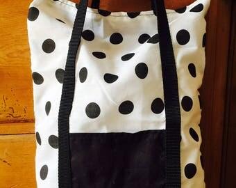 White and Black Spotty Handbag with Pocket Detail