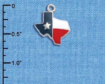 C1065 tlf - Enamel Lone Star Texas - Silver Plated Charm - QUANTITY OPTIONS