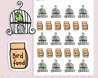 BIRD & BIRD FOOD | Planner Stickers  | Birds | Pets | Animal | Reminder | Erin Condren | S220