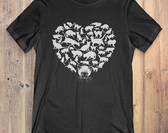 Cat T-Shirt Gift: Heart Cat