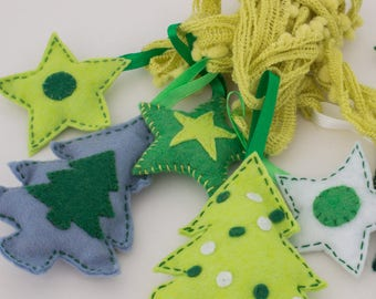 Green felt and wool - trees and stars Garland