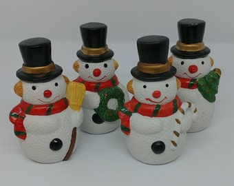 Vintage Snowman Figurines Winter Christmas Hanukkah Pic N Save Collectibles Altered Repurposed Art