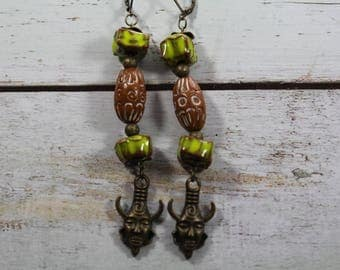 Earrings ceramic beads lime and Brown, bronze charm