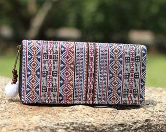 Womens Boho Wallet    Tribal Wallet    Purse   Clutch Wallet     Zipp Wallet   Bohemian Wallet    Vegan Wallet   Hippie Wallet  Gift For Her