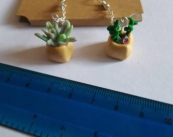 Super cute, handcrafted miniature succulent earrings