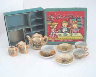 1950s Toy China Tea Set Just Like Mothers 11 Piece Made in Japan Childrens China Tea Set Original Box Lusterware Church Scene