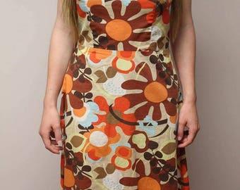 1960's Floral Hippie Strapless Dress