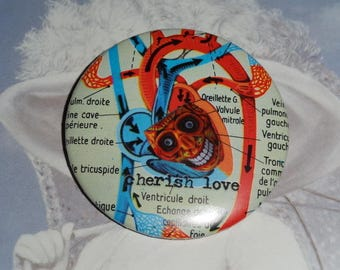 Happy heart, Anatomy pattern: 5 cm (collage) badge