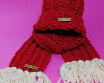 Kids Hat + Scarf Set | RED | Crocheted Unisex Hat Scarf Set