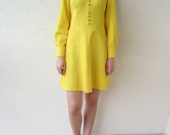 60s 70s vintage MOD SCOOTER Canary Yellow mini dress S M