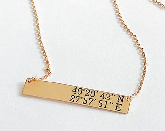 Latitude Longitude Necklace, Coordinates Jewelry, Engraved Gold Bar Necklace, Coordinates Necklace, Sterling Silver, Gold,Rose Gold Necklace
