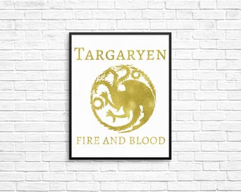 Game of Thrones House Sigil Prints - Lannister, Stark, Baratheon, Targaryen, Tully, Tyrell, Mormont, Arryn, Greyjoy - GoT, Game of Thrones