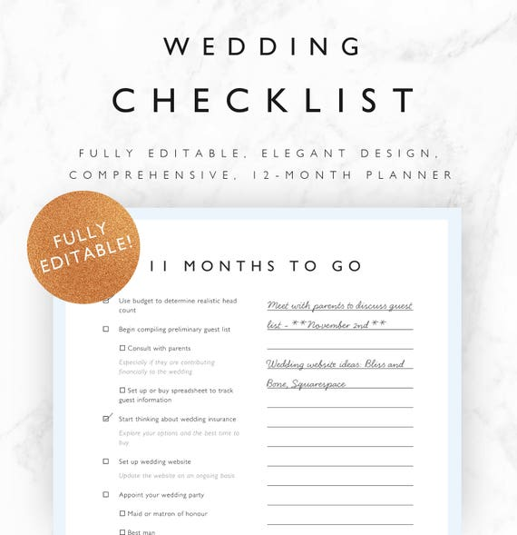 Wedding Checklist: Editable Wedding Checklist 12 Month Wedding Planner