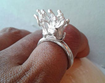 Miniature Sea Anemone Silver Ring / Statement Ring/ Coral Reef Ring / Ocean Ring