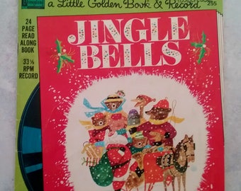 Jingle Bells Disney/Little Golden Book and 33-1/2 RPM record, 1976, Disneyland records, story by Kathleen Daly, pictures by J.P. Miller