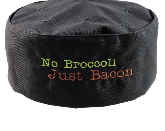 Humorous No Broccoli Just Bacon Embroidery on an Adjustable Cook Style Black Pillbox Hat