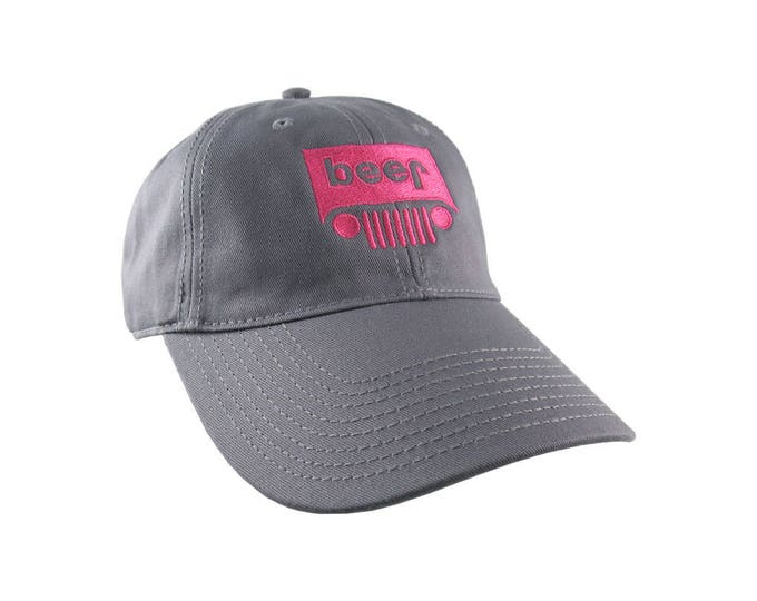 Beer Jeep Parody Hot Pink Embroidery on an Adjustable Charcoal Grey Unstructured Dad Hat Style Mid Profile Baseball Cap