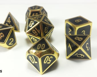 """DnD Metal Dice Set Gold and Black """"Elite Dragon's Gold"""" D&D dice Heavy Perfect Precision Gothic RPG Polyhedral Dungeons and Dragons Critical"""
