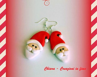 Santa Claus earrings in polymer clay, father christmas dangle red earrings, christmas earrings, gift idea for her, secret santa gift