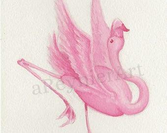 Original illustration series flamingo (n = 5/8) 10 X 15 cm