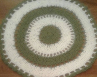 Cute Green and White Crocheted Cotton Rug 30""