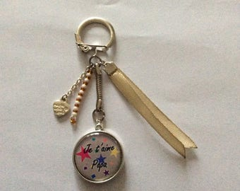 """Keychain cabochon """"I love you Dad"""" we love you dad"""