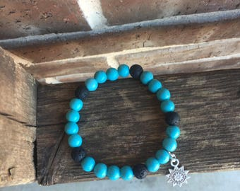 Turquoise and Black Lava Essential Oil Diffuser Bracelet