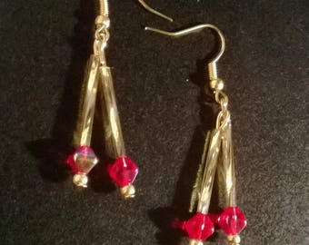 Red and gold glass beads earrings