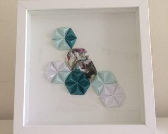 3D Origami Wall Art || 25cm Green Multi