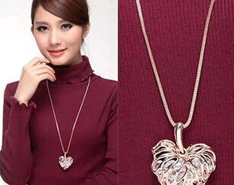 Heart-shaped Crystal Rhinestone Pendant Long Chain Necklace