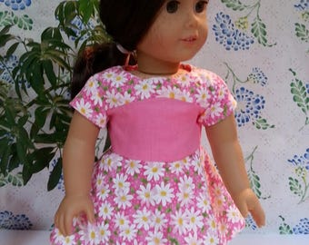 "Pink Daisy Print Dress for American Girl and 18"" Dolls"