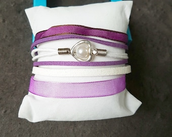 All in one, purple Cuff Bracelet / white with a heart