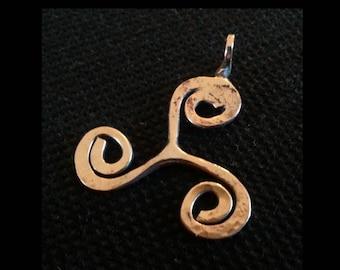 Triskele triskelion design pendant forged polished solid bronze