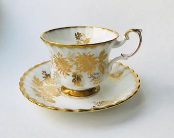 Royal Albert Montrose GOLDEN GLORY Teacup and Saucer Gold flowers leaves 1960s
