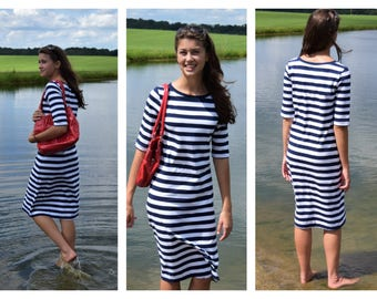 Modest Navy and White Striped Casual Dress (optional lengths)