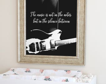 Quote about Music, Gift for Musician, Music wall art, Gift for music lover, Music art print, Musician print, Guitar Print, Instant Download