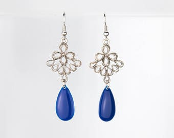 Drop earrings blue and silver #1236