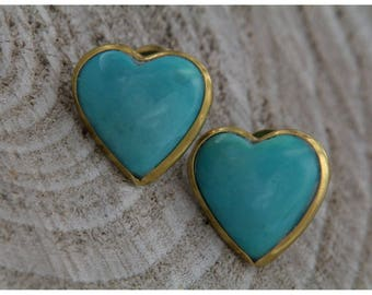 Natural Turquoise Hearts Earrings and 18 kt yellow gold, Vintage heart lobe earrings, blue turquoise earrings, love earrings
