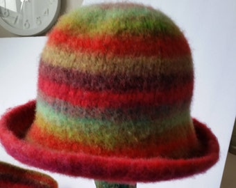 HAT, FELTED, Hand Knit 100% wool, Striped, stripe, stripes, felt, hand knit, adult small size, bright, colorful, fuchsia, orange, green