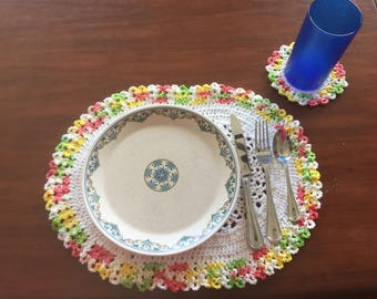 Set of 4 Oval Crochet Placemats with Coasters