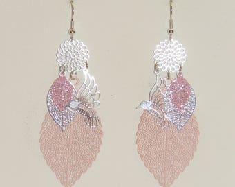 Leaf earrings, flowers, birds prints earrings, pastel pink, silver, dangle earrings, spring jewelry
