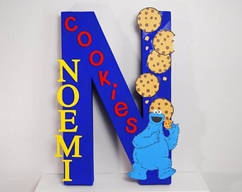 Cookie Monster Letter, Sesame Street Letter, Personalized Letters, Sesame Street Party Decor